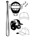 Helmet bat cap ball mask set vector | Price: 1 Credit (USD $1)