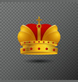 icon of golden crown with red stones and vector image vector image