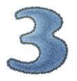 Jeans alphabet Denim number 3 vector image vector image