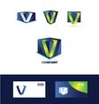 Letter V cube 3d logo vector image vector image