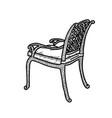 line art wicker armchair wicker garden chair vector image vector image