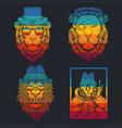 lion retro vector image vector image