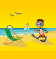 lounge chairs on the beach man wearing diving vector image