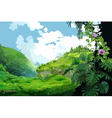 Mountain landscape with tropical plants vector image vector image