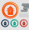 pan cooking icon on the red blue green orange vector image