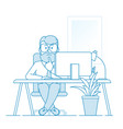 pensive or indecisive man sitting at a table in vector image