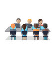 people sit at table and discuss business issues vector image vector image