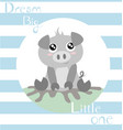 piglet with baby blue vector image vector image