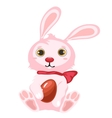 Pink Easter Bunny with chocolate egg isolated vector image