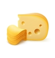 Potato Chips Stack with Cheese on White Background vector image vector image