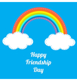Rainbow Happy friendship day white text vector image