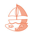 sailboat sea isolated icon vector image vector image