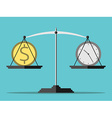 Scales money and time vector image vector image