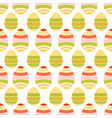 seamless pattern of dotted and wavy easter eggs vector image
