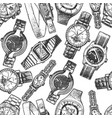 seamless pattern with different wristwatches vector image vector image