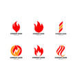 set fire flame logo design template vector image vector image