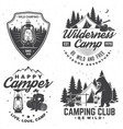 set happy camper outdoor adventure symbol vector image