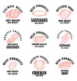 set meat products labels design element for vector image