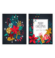 set two christmas and new year greeting vector image