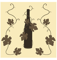 silhouette wine and grape leaves vector image vector image