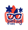 surfing club logo surf retro badge with vector image vector image