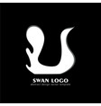 swan logo white silhouette cosmetics spa fashion vector image vector image