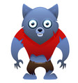 werewolf cute cartoon character vector image vector image