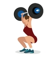 woman female weight lifting training lift bar vector image vector image