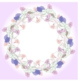 Wreath with pink and blue bindweed vector image