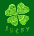 color leaflet clover on st patrick s day vector image