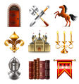 Medieval icons set vector image