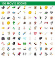 100 movie icons set cartoon style vector image