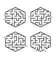 a set of abstract labyrinths for children simple vector image vector image