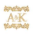 ak vintage initials logo symbol letters a k