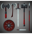 antique edged weapons collection game design set vector image vector image