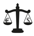 Balance with the currency symbol dollar and euro vector image vector image
