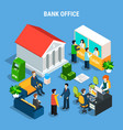 banking office isometric composition vector image vector image