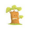 big humanized tree with emotional face natural vector image vector image