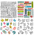 books library reading objects collection vector image vector image