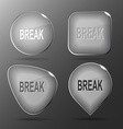 Break Glass buttons vector image vector image