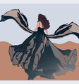 brunette with curly hair and blowed wind vector image vector image