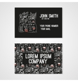 Business card template whit funny doodle monsters vector image