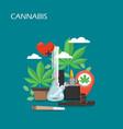 cannabis set flat style design vector image