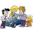 cartoon a family looking at a new auto car vector image vector image