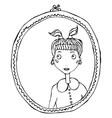 cartoon cute adorable girl in the mirror frame vector image vector image