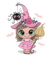 cartoon witch in pink dress and hat vector image vector image