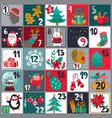 christmas advent calendar with cute animals vector image