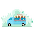 coffee truck street takeaway mobile cafe vector image vector image