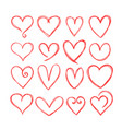 collection cute hand drawn hearts design vector image vector image