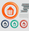 cupcake muffin icon on the red blue green orange vector image vector image